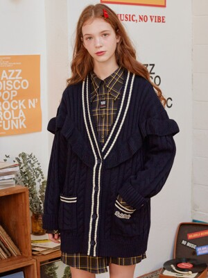 (CD-19532) FRILL CARDIGAN NAVY