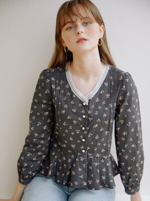 Dot Floral Blouse_Black