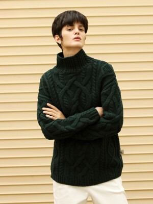 Cable knitted wool sweater_Green