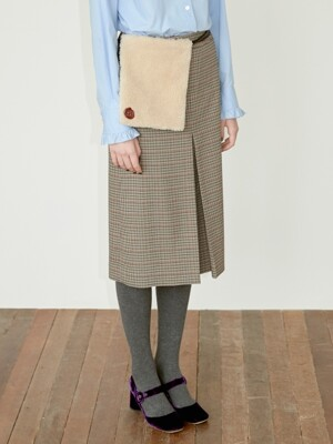 POCKET BELTED MIDI CHECK SKIRT