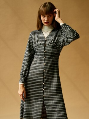 J324 pearl-button checked onepiece (navy)