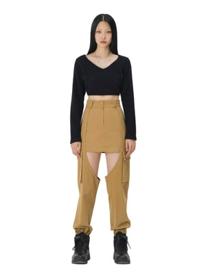 C CARGO SKIRT PANTS_BEIGE