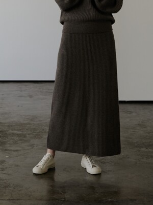 ALAN KNIT SKIRT (MELANGE BROWN)