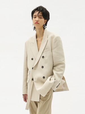 UNISEX VERONA  DOUBLE BREASTED JACKET awa244u(CREAM)(20SS)