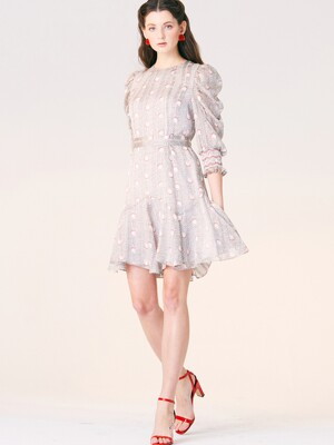 SHIRRING SLEEVE MINI DRESS_WHITE