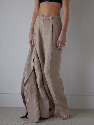 TOMO LINEN PANTS (MOCHA BROWN)