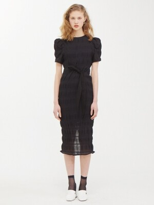 Puffy Wrinkle Dress-BK