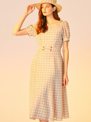 SQUARE NECK CHECK DRESS_GREEN