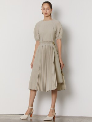 DETACHABLE PLEATS DRESS_BEIGE