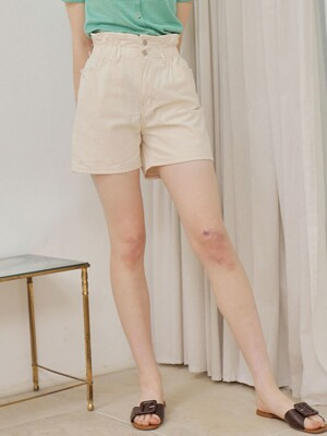 HIGHWAIST BANDING SHORT PANTS_BEIGE