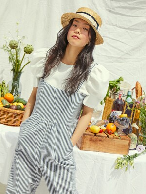 [20SS] GRIFFITH PARK camisole overall  (White and light navy stripe)