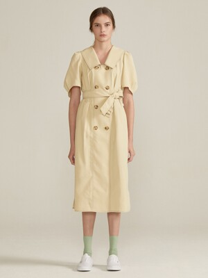 Double Button Belted Dress [Yellow] JSDR0B908Y1