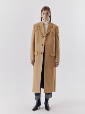 UNISEX 2-WAY 3 BUTTON CASHMERE COAT CAMEL_UDCO0F111CM