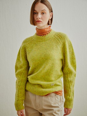 CABLE SLEEVE WOOL KNIT-PULLOVER LIGHT GREEN (AESW0F006E1)