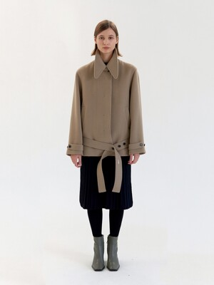 Wing Collar Pea Coat - Beige