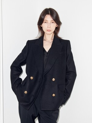 BLACK WOOL DOUBLE-BREASTED BLAZER (JTJJ142)