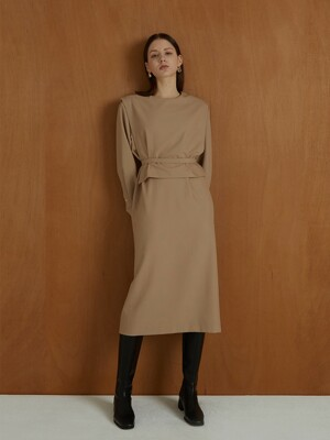 fw sailor collar dress beige