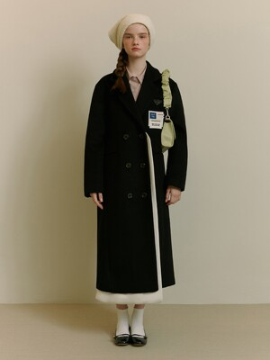 PATCH POINT LAYERED WOOL COAT [BLACK]