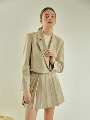 Basic Crop Jacket (Beige)