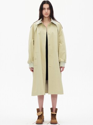 RIBBED COLLAR TRENCH COAT, BEIGE