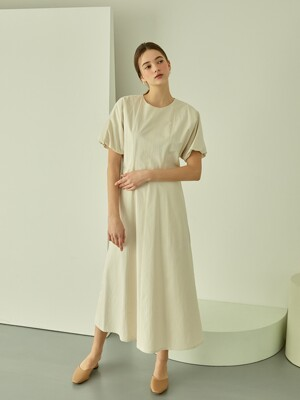Volume Sleeve Long Dress (Ivory)