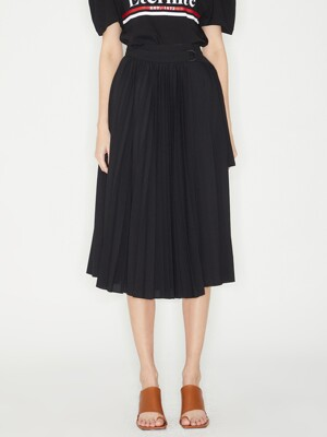 WRAP PLEATS SKIRT_BLACK
