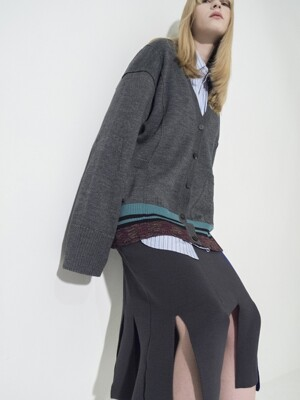 Flared Sleeve Color-Block Cardigan_GRAY