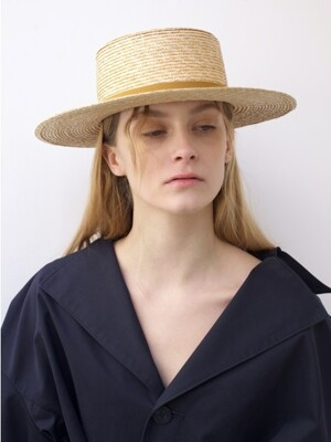 WHEAT STRAW BOATER HAT_MUSTARD