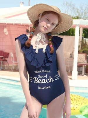 (OP-18372)SHIRRING V ZONE ONEPIECE SWIMSUIT NAVY