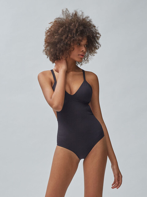 RIBBED MONOKINI SWIM _BLACK