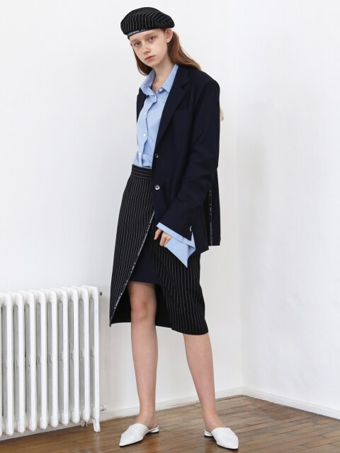 [1159STUDIOXMUNN]CO SELVAGE SKIRT_STRIPE