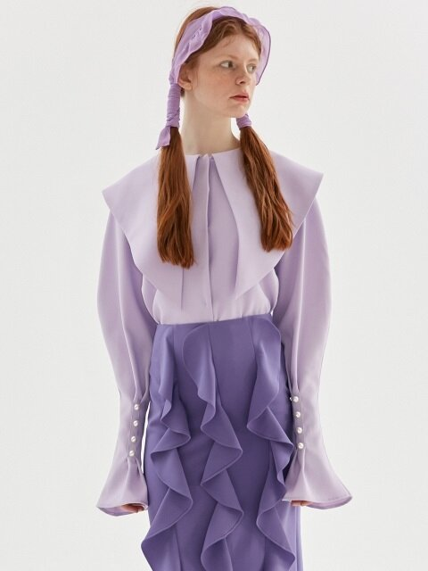 TRIANGLE COLLAR BLOUSE_PURPLE