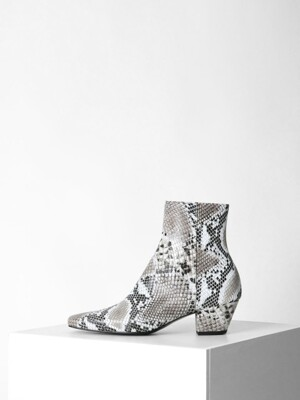 PYTHON SQUARE ANKLE BOOTS - WHITE