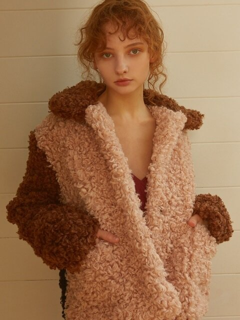 TRIPLE COLORED FUR JACKET(PINK)