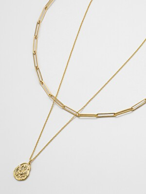 [SET] Vintage oval coin chainchoker SET