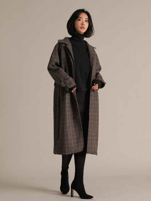 OVERSIZE STRAP GLEN CHECK COAT BROWN