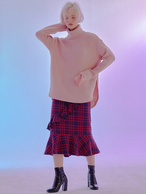 [듀이하트듀이]CHECK KNIT SKIRT_RED