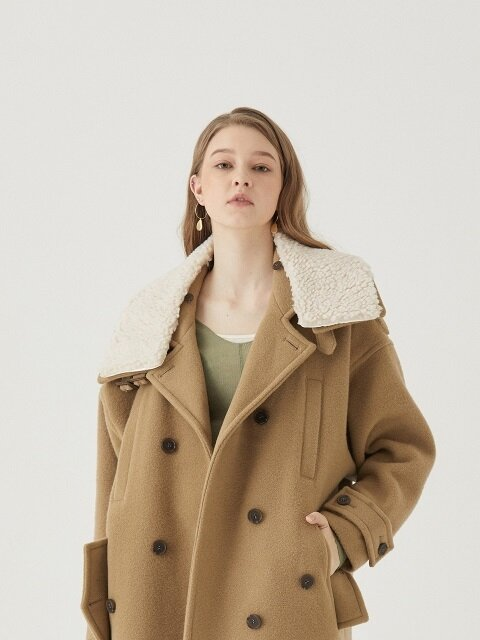DETACHABLE FUR DOUBLE COLLAR COAT [BROWN]