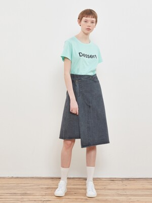 Denim Wrap Skirt [Charcoal]