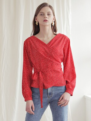 WRAP DOT BLOUSE_RED (DOT)