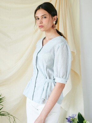 DOT RIBBON TIED UP BLOUSE_MT