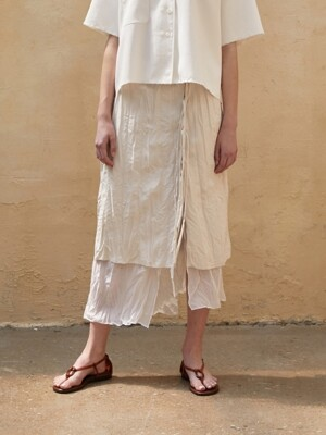Skirt Crinkled Inner Layerd Beige