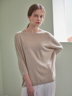 BASIC CASHMERE LOOSE PULLOVER (BEIGE)