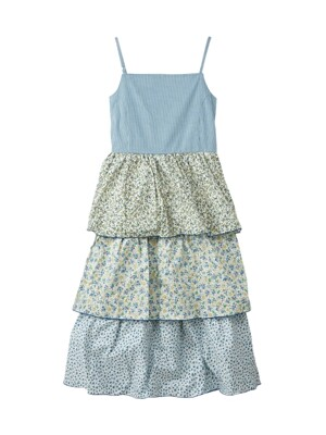 Flower back string dress - Blue