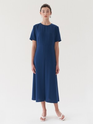 long simple dress-blue