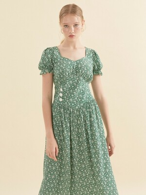 Puff Shoulder Midi Dress_ Green
