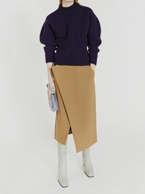 ASYMMETRIC WRAP SKIRT (BEIGE)