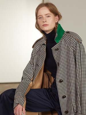 Bruxelle Oversized Check Trench Coat_Gingham Check