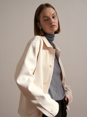 Ivory_Oversized Out-Pocket Shirt Jacket