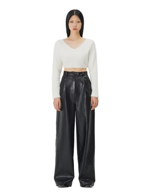 C LEATHER WIDE PANTS_BLACK